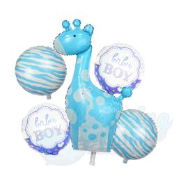 Boy Giraffe Foil Balloon Set