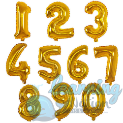 Number Foil Balloons - Gold