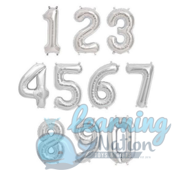 Number Foil Balloons - Silver